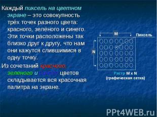 Каждый пиксель на цветном экране – это совокупность трёх точек разного цвета: кр