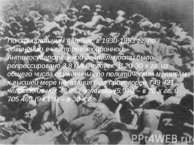 По официальным данным, в 1930-1953 гг. по обвинению в контрреволюционной. Антигосударственной деятельности было репрессировано 3,8 млн человек. В 20-30-х гг. из общего числа осужденных по политическим мотивам к высшей мере наказания был приговорен 7…
