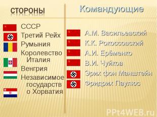 СССР СССР Третий Рейх Румыния Королевство Италия Венгрия Независимое государство