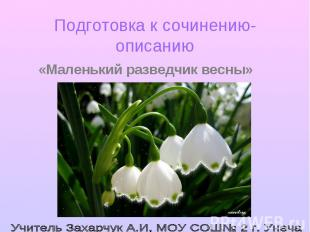 Подготовка к сочинению-описанию «Маленький разведчик весны» Учитель Захарчук А.И