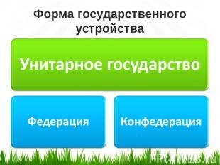 Форма государственного устройства Унитарное государствоФедерацияКонфедерация