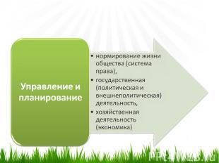 Управление и планированиенормирование жизни общества (система права),государстве