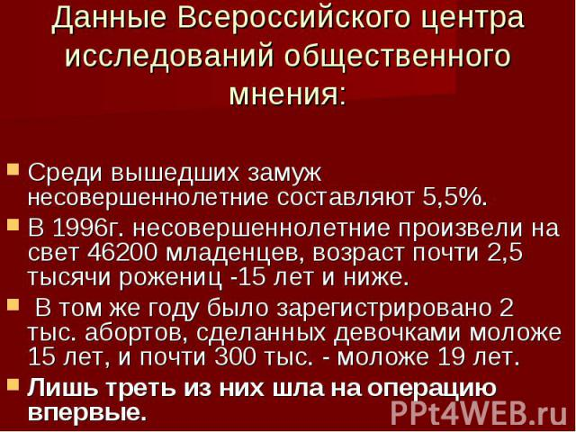 Данные Всероссийского центра исследований общественного мнения: Среди вышедших замуж несовершеннолетние составляют 5,5%. В 1996г. несовершеннолетние произвели на свет 46200 младенцев, возраст почти 2,5 тысячи рожениц -15 лет и ниже. В том же году бы…