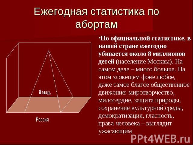 Ежегодная статистика по абортам По официальной статистике, в нашей стране ежегодно убивается около 8 миллионов детей (население Москвы). На самом деле – много больше. На этом зловещем фоне любое, даже самое благое общественное движение: миротворчест…