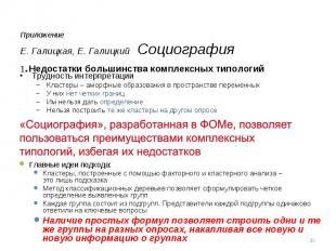 ПриложениеЕ. Галицкая, Е. Галицкий Социография 1.Недостатки большинства комплекс