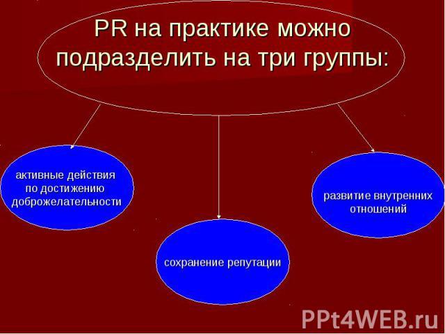 PR на практике можно подразделить на три группы: активные действия по достижению доброжелательности сохранение репутации развитие внутреннихотношений