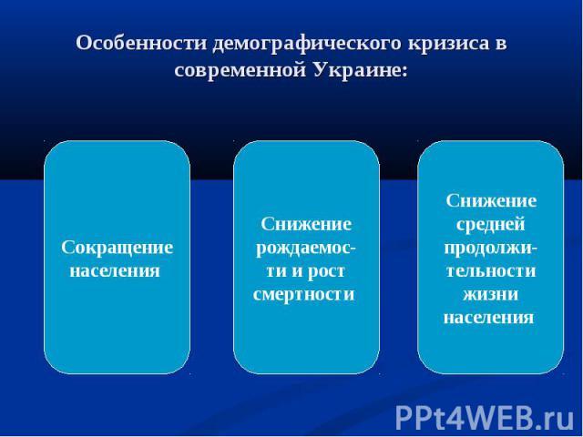 Особенности демографического кризиса в современной Украине:Сокращение населения Снижение рождаемос-ти и рост смертности Снижение средней продолжи-тельности жизни населения