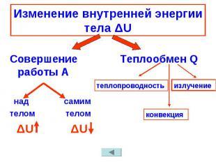 Изменение внутренней энергии тела ΔU Совершение работы А над самимтелом телом ΔU
