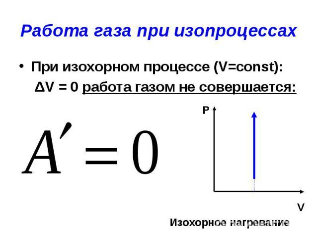 Работа газа при изопроцессах При изохорном процессе (V=const): ΔV = 0 работа газом не совершается: