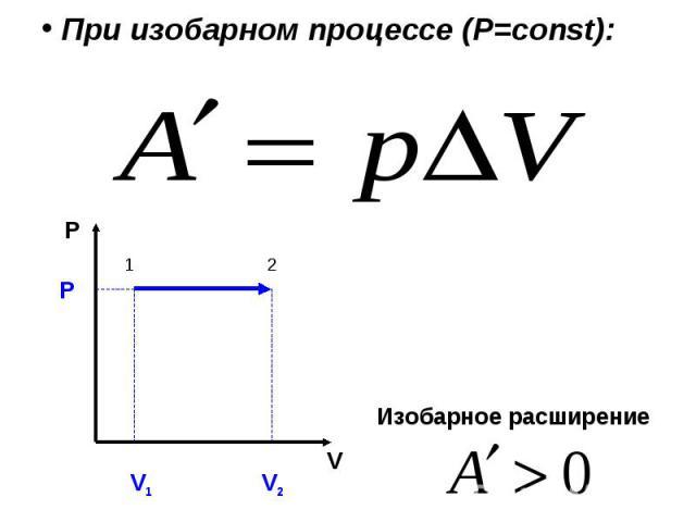 При изобарном процессе (Р=const): Изобарное расширение