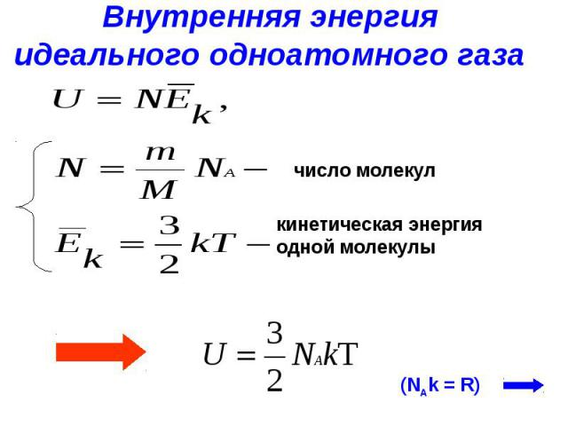 Внутренняя энергияидеального одноатомного газа число молекул кинетическая энергия одной молекулы