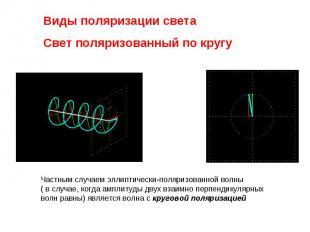Виды поляризации света Свет поляризованный по кругуЧастным случаем эллиптически-