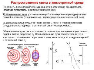 Распространение света в анизотропной среде Плоскость, проходящая через данный лу