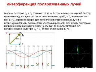 Интерференция поляризованных лучей б) фазы векторов Е1 и Е2 отличаются на φ. В э