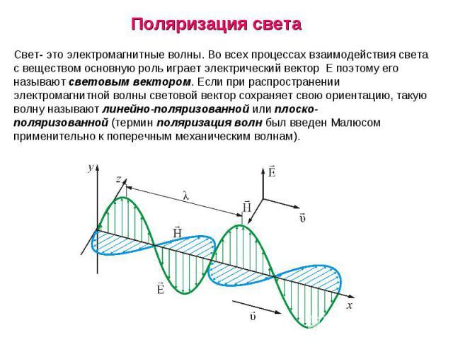 Свет- это электромагнитные волны. Во всех процессах взаимодействия света с веществом основную роль играет электрический вектор Eпоэтому его называютсветовым вектором. Если при распространении электромагнитной волны световой вектор сохраняет свою …