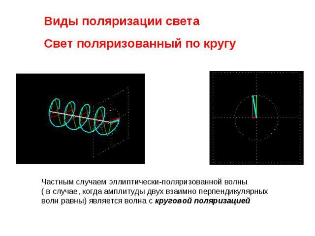 Виды поляризации света Свет поляризованный по кругуЧастным случаем эллиптически-поляризованной волны ( в случае, когда амплитуды двух взаимно перпендикулярных волн равны) является волна скруговой поляризацией