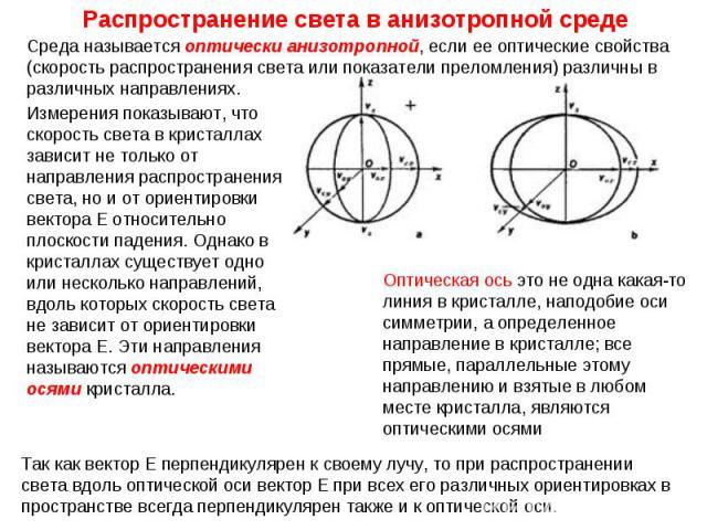 Среда называется оптически анизотропной, если ее оптические свойства (скорость распространения света или показатели преломления) различны в различных направлениях. Измерения показывают, что скорость света в кристаллах зависит не только от направлени…