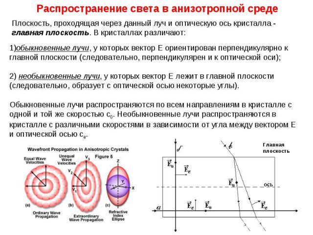 Распространение света в анизотропной среде Плоскость, проходящая через данный луч и оптическую ось кристалла - главная плоскость. В кристаллах различают: 1)обыкновенные лучи, у которых вектор Е ориентирован перпендикулярно к главной плоскости (следо…