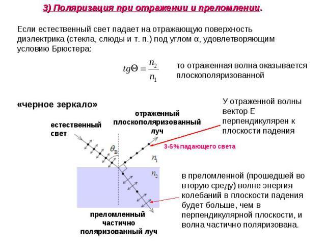 3) Поляризация при отражении и преломлении. Если естественный свет падает на отражающую поверхность диэлектрика (стекла, слюды и т. п.) под углом α, удовлетворяющим условию Брюстера: то отраженная волна оказывается плоскополяризованной У отраженной …