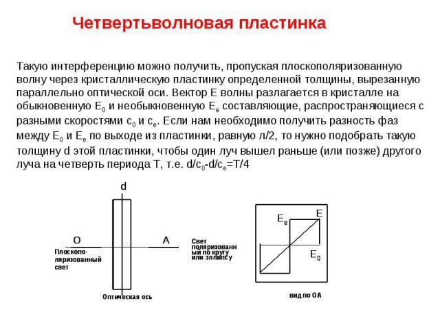 Четвертьволновая пластинка Такую интерференцию можно получить, пропуская плоскополяризованную волну через кристаллическую пластинку определенной толщины, вырезанную параллельно оптической оси. Вектор Е волны разлагается в кристалле на обыкновенную Е…