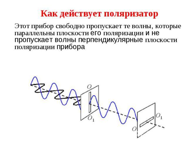 Этот прибор свободно пропускает те волны, которые параллельны плоскости его поляризации и не пропускает волны перпендикулярные плоскости поляризации прибора