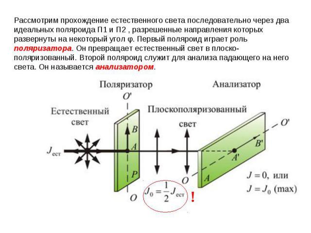 Рассмотрим прохождение естественного света последовательно через два идеальных поляроидаП1иП2, разрешенные направления которых развернуты на некоторый уголφ. Первый поляроид играет роль поляризатора. Он превращает естественный свет в плоско-пол…