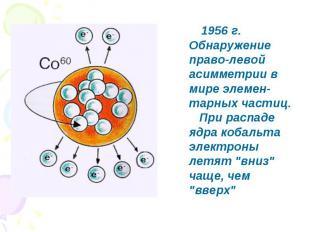 1956 г. Обнаружение право-левой асимметрии в мире элемен-тарных частиц. При расп