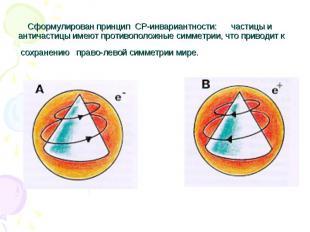 Сформулирован принцип CP-инвариантности: частицы и античастицы имеют противополо