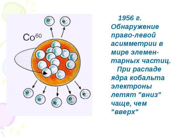1956 г. Обнаружение право-левой асимметрии в мире элемен-тарных частиц. При распаде ядра кобальта электроны летят