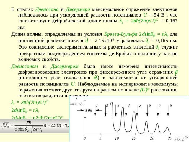 В опытах Дэвиссона и Джермера максимальное отражение электронов наблюдалось при ускоряющей разности потенциалов U = 54 В , что соответствует дебройлевской длине волны λБ = 2πħ(2meeU)-1/2 = 0,167 нм.Длина волны, определяемая из условия Брэгга-Вульфа …