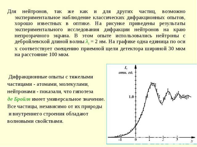 Для нейтронов, так же как и для других частиц, возможно экспериментальное наблюдение классических дифракционных опытов, хорошо известных в оптике. На рисунке приведены результаты экспериментального исследования дифракции нейтронов на краю непрозрачн…