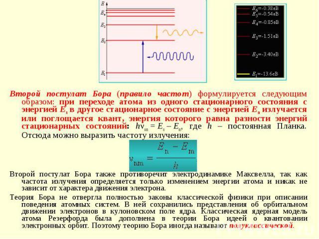 Второй постулат Бора (правило частот) формулируется следующим образом: при переходе атома из одного стационарного состояния с энергией En в другое стационарное состояние с энергией Em излучается или поглощается квант, энергия которого равна разности…