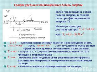 График удельных ионизационных потерь энергии dЕ/dx представляет собой потери эне