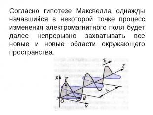 Согласно гипотезе Максвелла однажды начавшийся в некоторой точке процесс изменен