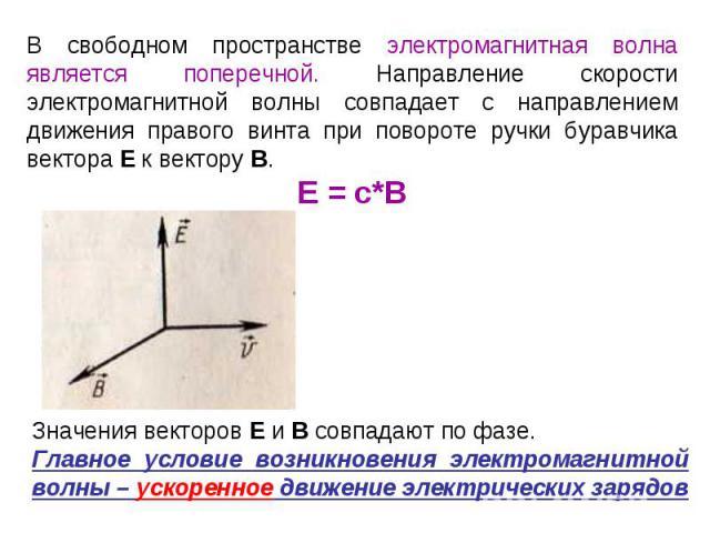 В свободном пространстве электромагнитная волна является поперечной. Направление скорости электромагнитной волны совпадает с направлением движения правого винта при повороте ручки буравчика вектора Е к вектору В.Е = с*В Значения векторов Е и В совпа…