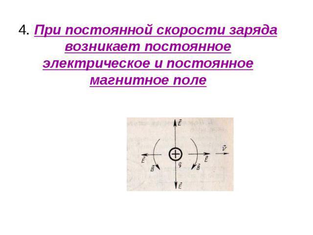 4. При постоянной скорости заряда возникает постоянное электрическое и постоянное магнитное поле