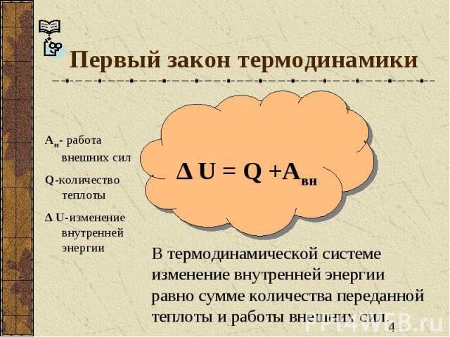 Первый закон термодинамики Авн- работа внешних силQ-количество теплоты∆ U-изменение внутренней энергии ∆ U = Q +Авн В термодинамической системе изменение внутренней энергии равно сумме количества переданной теплоты и работы внешних сил.