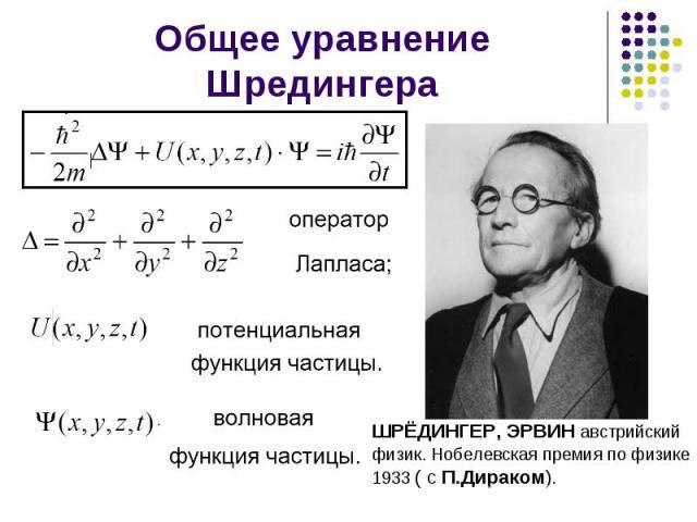 Общее уравнение Шредингера ШРЁДИНГЕР, ЭРВИН австрийский физик. Нобелевская премия по физике 1933 ( с П.Дираком).