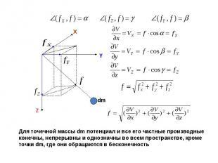 Для точечной массы dm потенциал и все его частные производные конечны, непрерывн