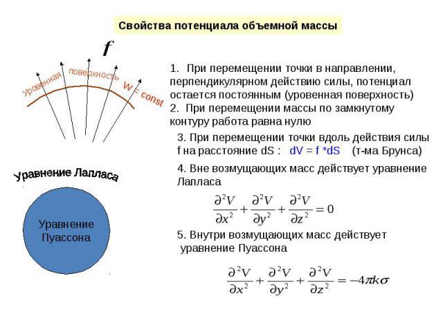 Свойства потенциала объемной массы При перемещении точки в направлении, перпендикулярном действию силы, потенциал остается постоянным (уровенная поверхность)2. При перемещении массы по замкнутому контуру работа равна нулю 3. При перемещении точки вд…