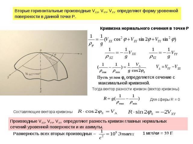Вторые горизонтальные производные VXX, VYY, VXY определяют форму уровенной поверхности в данной точке Р. Кривизна нормального сечения в точке Р Пусть углом φ0 определяется сечение с максимальной кривизной. Тогда вектор разности кривизн (вектор криви…