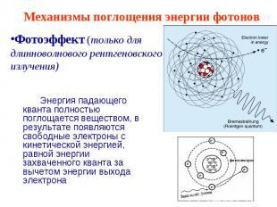 Механизмы поглощения энергии фотонов Фотоэффект (только для длинноволнового рент