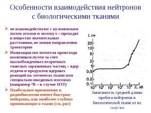 Особенности взаимодействия нейтронов с биологическими тканями не взаимодействуют