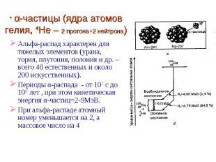 α-частицы (ядра атомов гелия, 4He – 2 протона+2 нейтрона) Альфа-распад характере