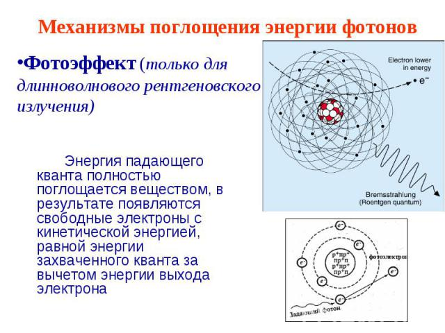 Механизмы поглощения энергии фотонов Фотоэффект (только для длинноволнового рентгеновского излучения) Энергия падающего кванта полностью поглощается веществом, в результате появляются свободные электроны с кинетической энергией, равной энергии захва…