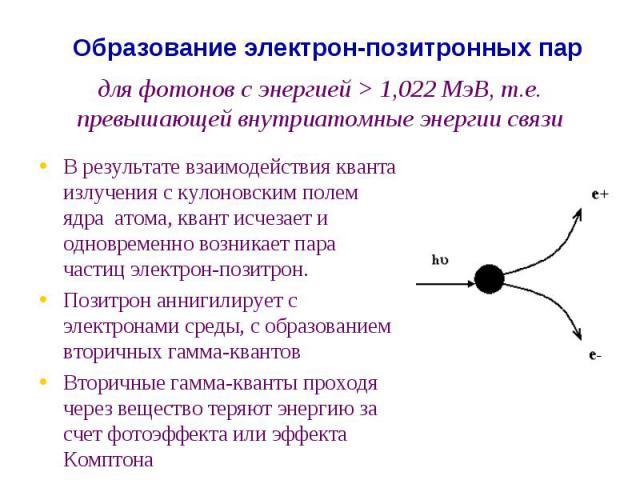 для фотонов с энергией > 1,022 МэВ, т.е. превышающей внутриатомные энергии связи В результате взаимодействия кванта излучения с кулоновским полем ядра атома, квант исчезает и одновременно возникает пара частиц электрон-позитрон. Позитрон аннигилируе…