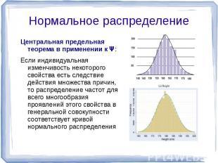 Центральная предельная теорема в применении к Ψ: Если индивидуальная изменчивост
