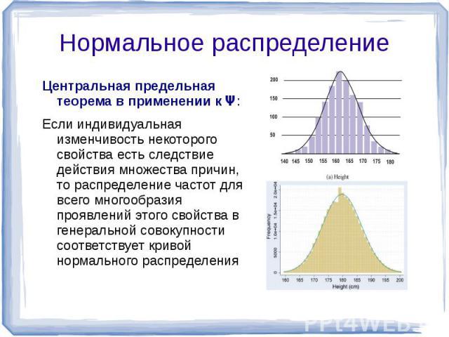 Центральная предельная теорема в применении к Ψ: Если индивидуальная изменчивость некоторого свойства есть следствие действия множества причин, то распределение частот для всего многообразия проявлений этого свойства в генеральной совокупности соотв…