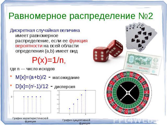 Равномерное распределение №2 Дискретная случайная величина имеет равномерное распределение, если ее функция вероятности на всей области определения (a,b) имеет видP(x)=1/n, где n — число исходовM[x]=(a+b)/2-мат.ожиданиеD[x]=(n2-1)/12 - дисперсия