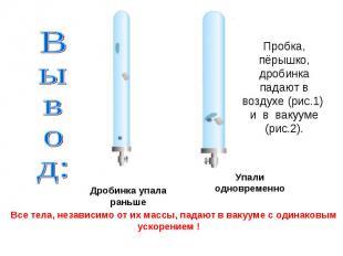 Пробка, пёрышко, дробинка падают в воздухе (рис.1) и в вакууме (рис.2). Вывод: В